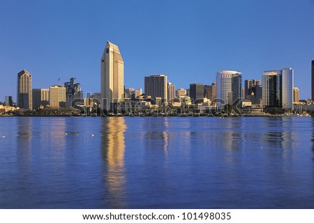 This is the San Diego Bay in morning light.