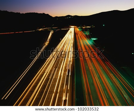 This is the San Diego Freeway also known as the 405. These are the streaked lights of the cars at night at rush hour.