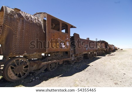 This is the train cemetery in Uyuni, Bolivia.  It is the first stop on a tour to the salt flats (Salar de Uyuni).