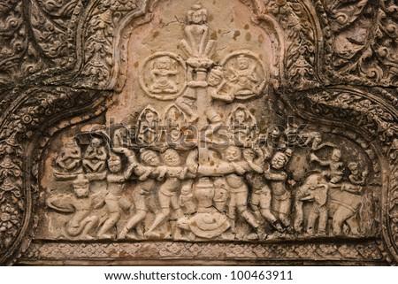 This low-relief replica of the front door of Preah Vihear.