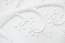 This low-relief trees sculpture plaster white