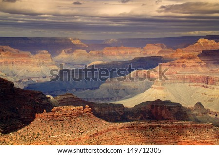 This majestic photo at the South Rim of the Grand Canyon captures the amazing layers of landscape and quality of light.