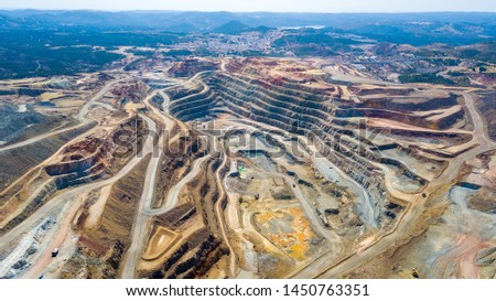 This mine is located in Riotinto, Huelva, Spain. This area along the Rio Tinto, in the Andalusian, Spain has been mined for copper, silver, gold, and other minerals.