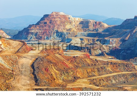 This mine is located in Riotinto, Huelva, Spain. This area along the Rio Tinto, in the Andalusian Province of Huelva in Spain has been mined for copper, silver, gold, and other minerals.