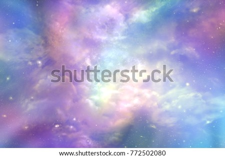 This must be what the Heavens Above looks like  -  Multi-coloured ethereal cosmic sky scape with fluffy clouds, stars, planets, nebulas, and bright light depicting Heaven