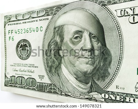 This photo illustration of Ben Franklin with a black eye and bandages on a one hundred dollar bill might illustrate a tough economy, inflation, unemployment, economic recession, or budget cuts etc.