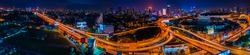 This photo is create in Thailand. It is cityscape, Metro night, and City light of Bangkok.
