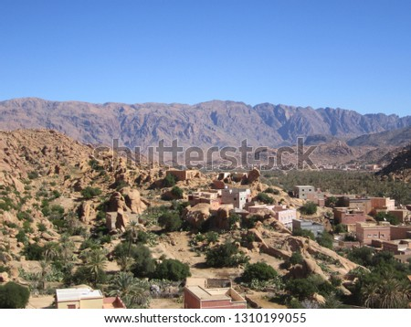 this photo of a panoramic landscape in the village aday tafraout Stok fotoğraf ©