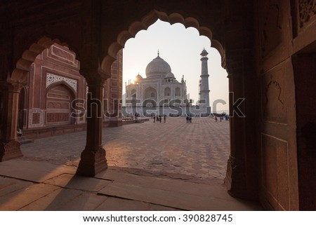 This photo was shot from Taj Mahal, India.It is an ivory-white marble mausoleum on the south bank of the Yamuna river in the Indian city of Agra. It was commissioned in 1632 by the Mughal emperor.