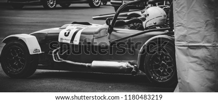 This photo was taken at the 'Classic Sports Car Club' in Donnington, Leicestershire / United Kingdom - September 15th, 2018: Caterham Seven racing car #1180483219