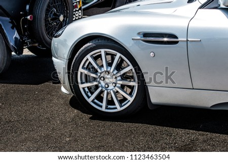 This photo was taken in Donnington, Leicestershire / United Kingdom - June 24, 2018: An Aston Martin Vanquish sports car. #1123463504