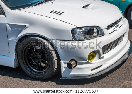 This photo was taken in Donnington, Leicestershire / United Kingdom - June 24, 2018: The front of a Japanese sports car. #1126975697