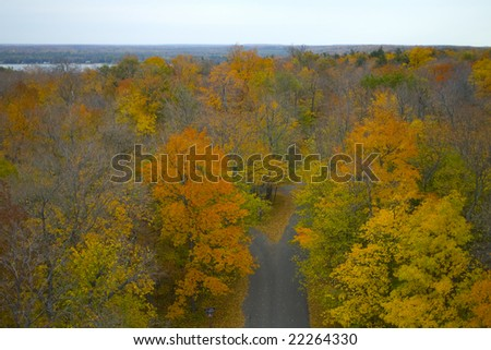 This photograph was taken atop a lookout tower at Wisconsin's Potawatomi State Park in Door County.