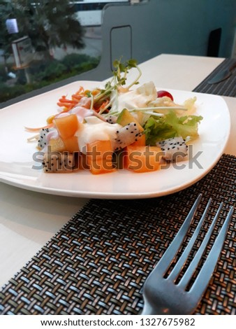 this pic show the Breakfast set include Fruit Salad for on diet