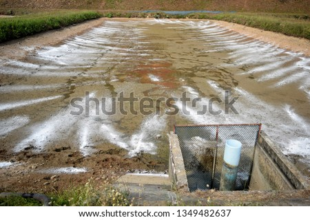 this pic show the farming of fish in ponds, the process prepared and cleaning used by the Quicklime, Aquaculture concept.