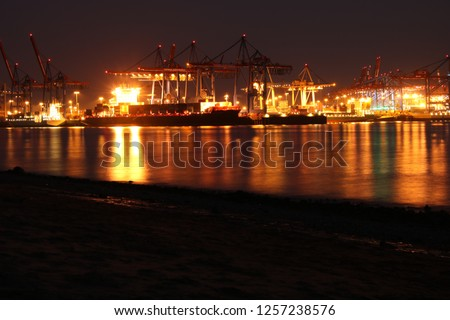 This pic was taken at the beach in Hamburg. It shows the harbour.