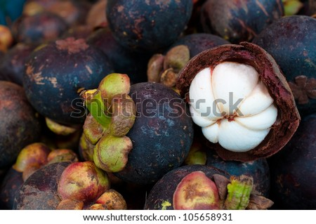 this picture is a group of mangosteens ,Thai fruit