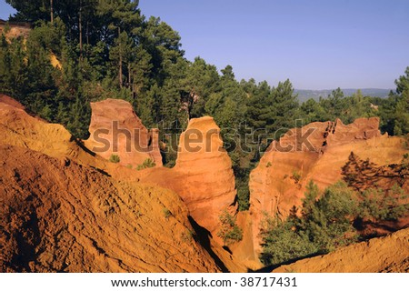 This picture was taken just as the sun was setting in Rousillon, France during late summer. It captures the red ochre, which is mined in Roussillon