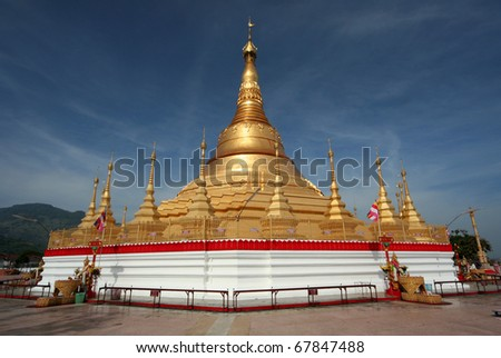 This replica of pagoda from Shwedagon Paya, Chiang Tung Province, Myanmar