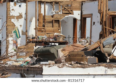 This severely damaged home is just one of thousands of homes destroyed in the 2011 tornado outbreaks throughout the US.