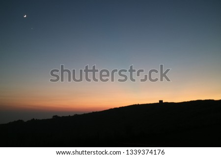 This shot was taken at Jeju. The sun is set. Moon and Venus are left side at this picture.