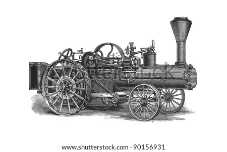 """This vintage engraving depicts a agricultural machinery. This engraving was published in a """"Agricultural machinery. Atlas"""" edited by K.K.Veber in 1897, it is now in the public domain."""