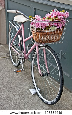 this vintage pink girls bicycle ...