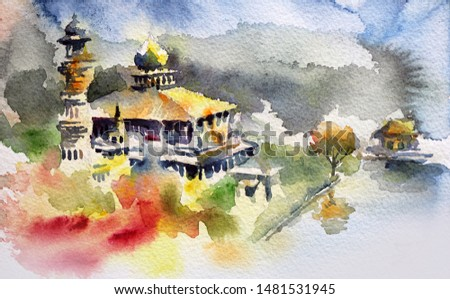 This watercolor painting is about a traditional mosque in an abstract background. The technique is wet on wet, wet paints on a wet paper.