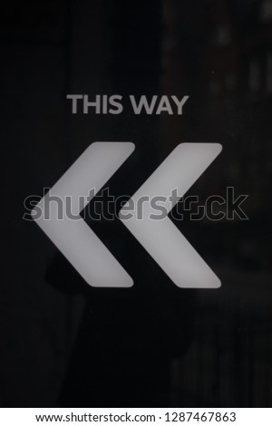 This Way Sign Chevrons Black & White #1287467863