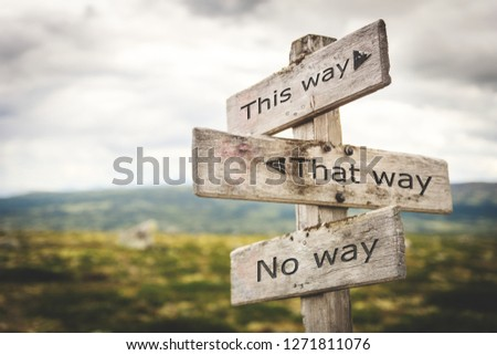 This way, that way, no way sign board. Nature, adventure, message, text, quote concept. #1271811076