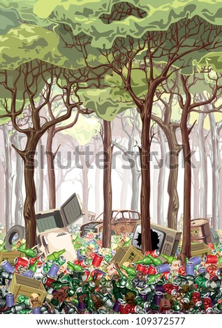 This work is about industrial nature pollution. The green forest is flooded with a garbage. It looks like a complete poster on the ecological theme. Editable vector EPS v9.0