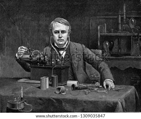 Thomas Alva Edison in front of his phonograph, vintage engraved illustration. From the Universe and Humanity, 1910.