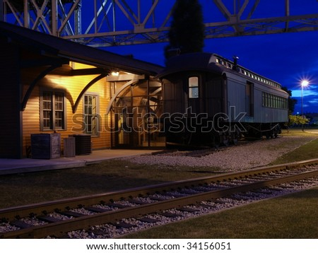 Thomas Edison Depot Museum at night in Port Huron Michigan.
