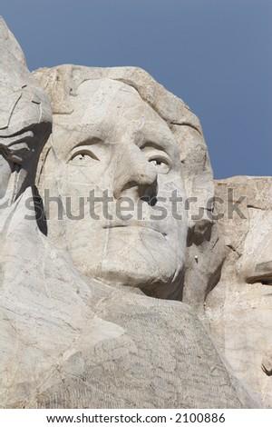 Thomas Jefferson - mount rushmore national memorial - Stone Sculptures of George Washington, Thomas Jefferson, Theodore Roosevelt, and Abraham Lincoln - black hills, south dakota, USA