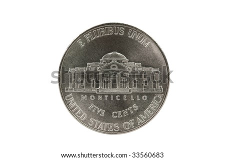 Thomas Jefferson nickel coin reverse with clipping path.