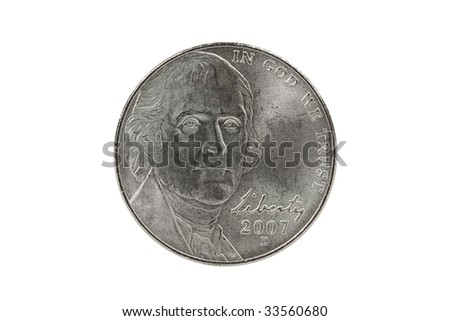Thomas Jefferson nickel coin with clipping path.