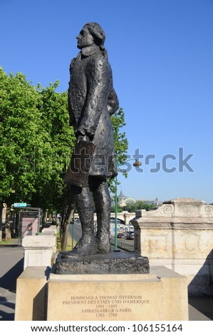 Thomas Jefferson statue Paris, France. This 10-foot tall statue of UVA's founder was erected in Paris, near the Mus�©e d'Orsay on the Left Bank,