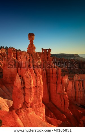 Thor's hammer at sunset from Sunset Point, Bryce Canyon, Utah.