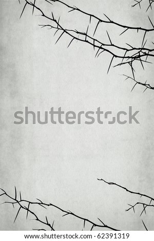 thorny branch isolated on vintage background - with space for your text