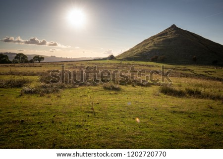 Thorpe Cloud, Dovedale, Peak District, in front of the Sun on a summers day