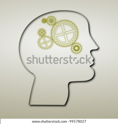 Thought process or Creative Thinking or Brain Storming inside gears in human head
