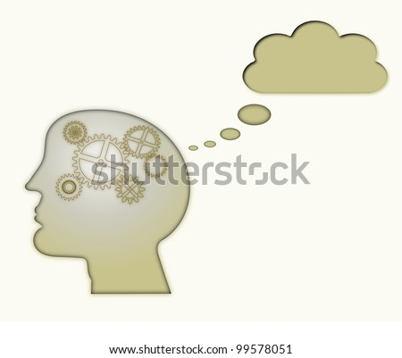 Thought process or Creative Thinking or Brain Storming inside silhouette head Concept
