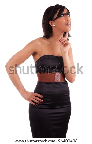 Thoughtful african woman with elegant black dress, isolated on white background