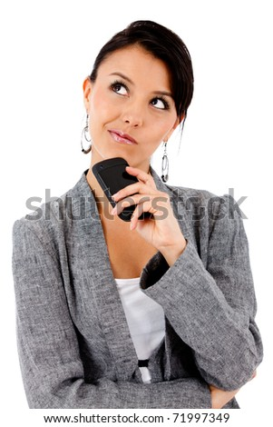 Thoughtful business woman - isolated over white