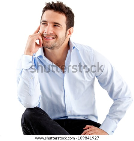 Thoughtful businessman - isolated over a white background