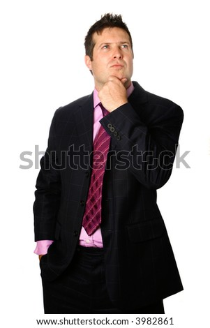 Thoughtful businessman with fingers placed on his chin in thinking pose, isolated on white.