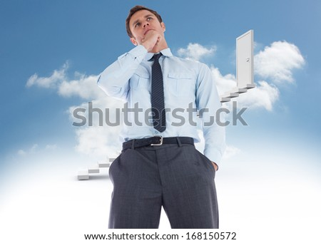 Thoughtful businessman with hand on chin against steps leading to closed door in the sky