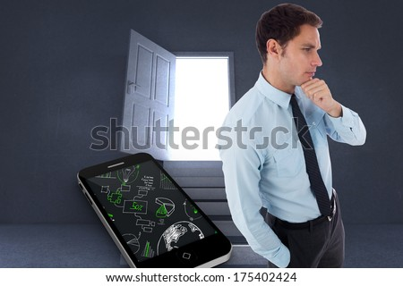 Thoughtful businessman with hand on chin against steps leading to open door showing light