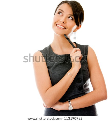 Thoughtful businesswoman looking up - isolated over a white background
