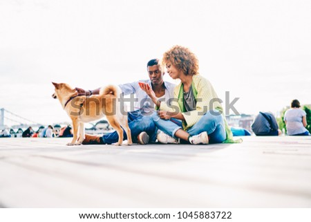 Photo of Thoughtful dark skinned couple resting outdoors with dog sharing common photos in social networks, african american best friends reading news online via smartphone sitting on square with akita inu